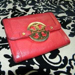Tory Burch Amanda Red Leather Trifold Wallet